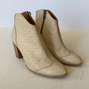 Dsign Step Aya Ivory Leather Booties